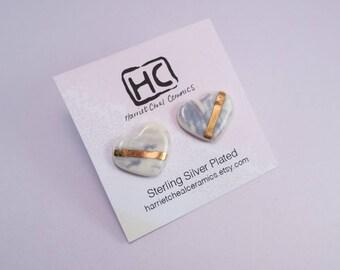 Heart ceramic earrings, gold detail, stud earrings, post earrings, silver plated, handmade