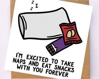 Cute Anniversary Card - Cute Card For Husband - Wife Card - Nap Card - Chocolate Card - Snack Card - Cute Boyfriend Card - Girlfriend Card