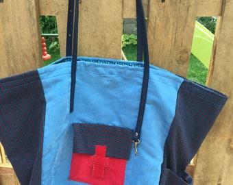Handbag, carried hand or shoulder, Blue Suede