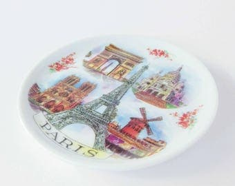 Vintage plates. Paris map. Paris wall art. Paris plate. Vintage miniature Paris plate. Collectible plate. Vintage plate. Eiffel tower.