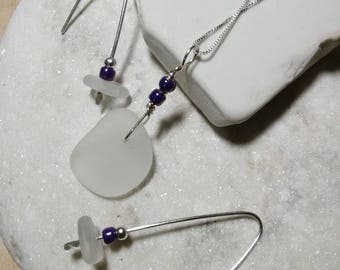 Lake Erie Clear Sea Glass Sterling Silver Pendant, Necklace and Wire Earring Set