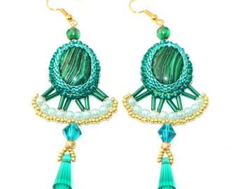 Bead Embroidered Malachite Stone Chandelier Earrings