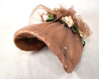 Vintage Womens Bonnet, Retro Victorian Brown Hat with Flowers, Netting, and  Rhinestones,