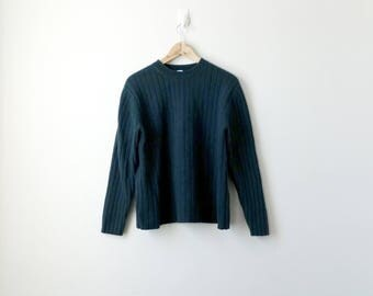 90s Ribbed Lambswool Sweater - 90s Sweater Vintage Sweater 90s Clothing - Ribbed Sweater - 90s Streetwaer - Fitted Sweater - Men's M