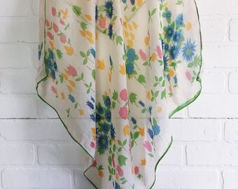 Vintage Floral Scarf, Vintage Scarf, Vintage Sheen Scarf, Floral Scarf, Scarf