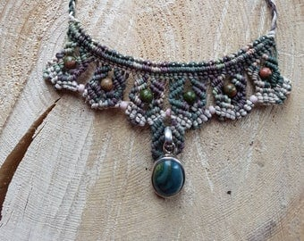 Micro macrame choker style with unakite beads and jasper pendant