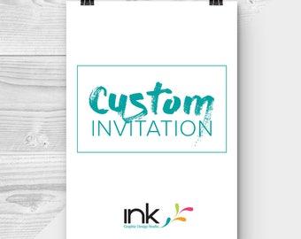 "Custom Invitation - Custom Theme - Custom Design - Any Theme - Paper - 7x5"" - 4x5.25"" - Made to Order"