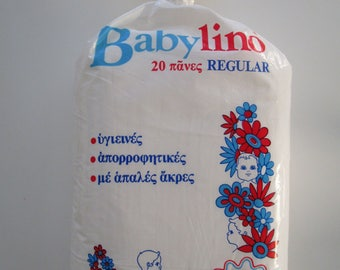 Vintage Rare Diapers Babylino Greece 1970s-80s  Regular Size for Babies 20pcs! +baby slip&saliva