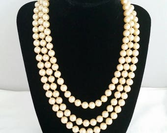 """Vintage Champagne Color, Long 55"""" Faux Pearl Knotted Necklace"""