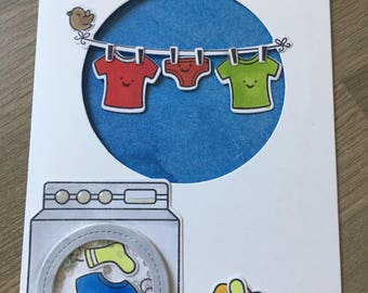 Lawn Fawn card featuring washing line and washing machine