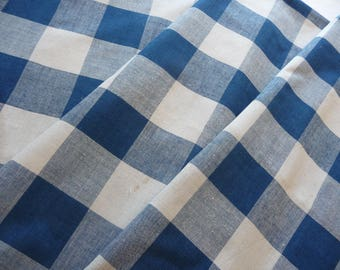 Antique French fabric/antique french linen / blue vichy check /antique gingam/19thc French textile/great condition