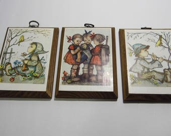 Set of 3 Hummel Collectible Prints on Wooden Plaques - Priority Shipping is standard here! See MORE Awesome Vintage n Shop