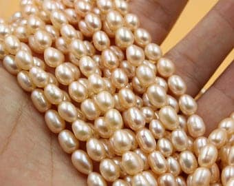 Freshwater Pearls Oval pearl Natural Champagne Gold loose pearl 5 - 6 mm 15'' Full Strand