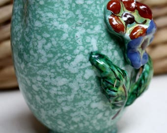 Hand Painted Sponge Painted green bud vase/pencil holder Made in Italy