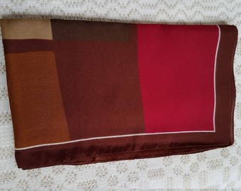 Vintage multicolor brown red square kerchief /  headscarf / headsquare / wrap /  shawl / bandana