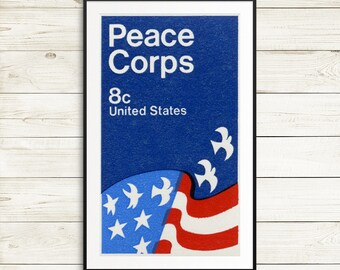 United States Peace Corps poster, peace corps stamp, USA posters, American Flag posters, Peace posters, vintage stamp art, flag and doves
