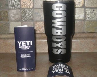 YETI Rambler Tumbler 30 oz DALLAS Cowboys, Personalized, Custom  With COWBOYS logo!-- Choose color!