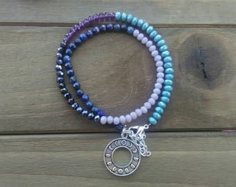 Moon Phase, Beaded Wrap Bracelet, Gemstone, Lapis Lazuli, Purple, Blue