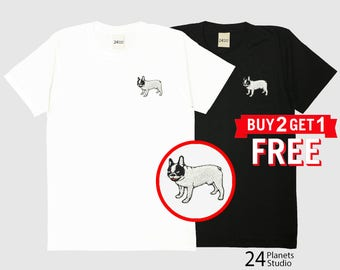 French Bulldog Embroidered T-Shirt by 24PlanetsStudio