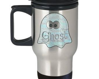 MAGICAL GHOST! Bring Adorable Spooky Haunting Wonder Into Each Day via Word Cloud! Insulated Stainless Steel Travel Coffee Mug With Lid
