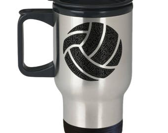 VOLLEYBALL PLAYERS FANS!! Volleyball Lover Spike Dig Court Net Net Service Points Insulated Stainless Steel Travel Coffee Mug With Lid