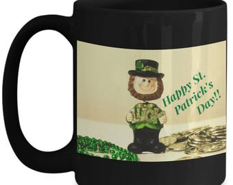 Happy St. Patrick's Day! Good Luck Leprechaun 15 oz Black Ceramic Coffee Mug! Gold Beer Rainbow Top Hat Clover