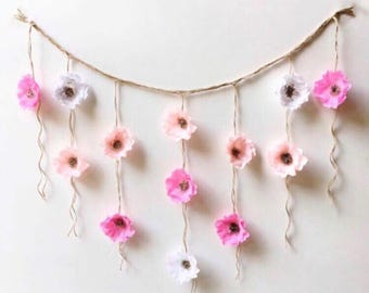 Boho Paper Flower Wall, Flower wall decor, Flower Art Decor