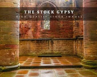 Castle Ruins Pillars- Stock Image