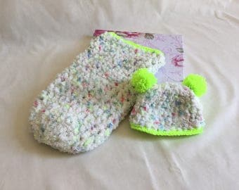 Newborn baby cacoon and pompom hat super fluffy neon colours