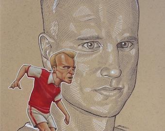 Dennis Bergkamp - Original Mixed Media Illustration