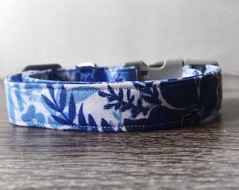 """Dog Collar Blue/White  """"Waikiki"""" - Aloha inspired Handmade"""