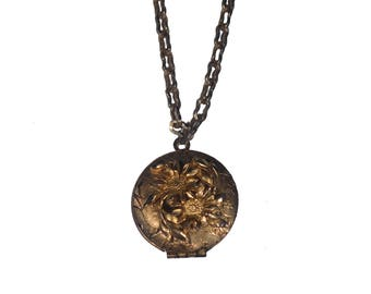 Vintage Flower Locket Necklace
