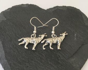 Wolf earrings / Wolf jewellery / animal earrings / animal jewellery / animal lover gift