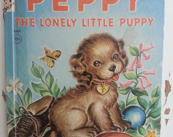 Peppy the Lonely Little Puppy Rand McNally Elf book vintage children's storybook bedtime story