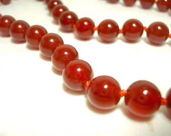 Orange Carnelian Genuine Gemstone Necklace 8 mm Spheres Beads Therapeutic Grade Joy & Body Vitality