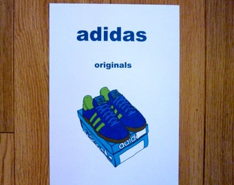adidas originals illustration trainers art print poster