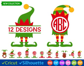 Elf Svg Elf Legs Svg Christmas svg files Elf Hat Svg Elf Clip art Kids Christmas Svg Split Monogram Svg Cricut files, Silhouette dxf png eps