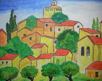 PROVENCE/PROVENCE LANDSCAPE/PROVENCE LANDSCAPE ACRYLIC PAINTING