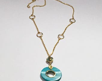 Turqouise donut shell lariat necklace, gold with Turqouise necklace,hand framed pendants necklace, one of a kind gold and Turqouise necklace