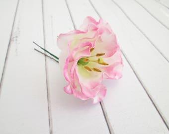 Wedding hair accessories etsy pink lisianthus flower hair pin eustoma floral hair accessories pink flower hair pins junglespirit Images