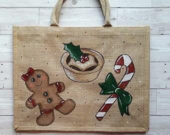 Christmas shopping jute bag