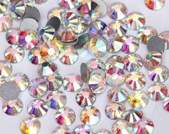 100 pcs Crystal AB SS5 - 1,7mm Rhinestones Type Swarovski Nail Art Flat Back Stones Non Hotfix Gems Style Crystals Zircon