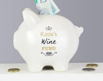 Personalised Wine Prosecco Drink Fund Small Piggy Bank Money Box Ceramic Gift