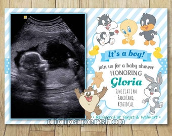 Printable Baby Looney Tunes Boy Baby Shower With Sonar/ultrasound/sonogram  Picture