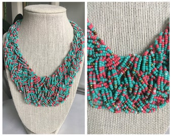 Knotted Beaded Statement Necklace
