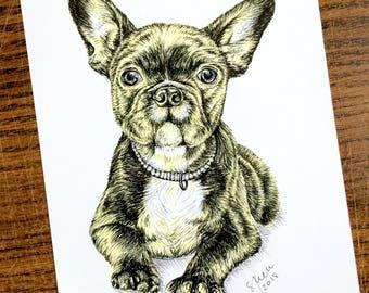 Art Print from Original Pen & Ink Illustration - Puppy Love