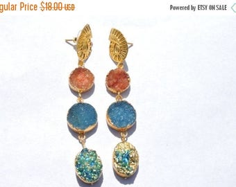 On Sale 24 Kt Gold Electroplated Edges Natural Druzy Earrings Pair Titanium Coated Druzy Earings
