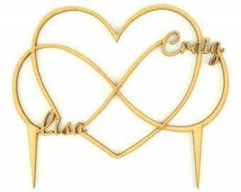 Personalised Infinity Heart Wedding Cake Topper