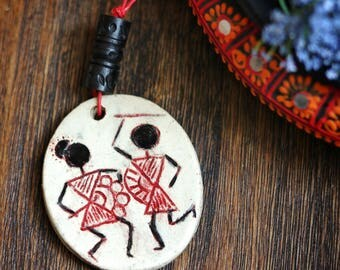 Rustic Chic Stoneware Pendant Necklace/ Hand Carved Pendant/ Warli motif carved Pendant / Celebration theme