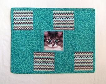 Handmade, Quilted Cat Mat